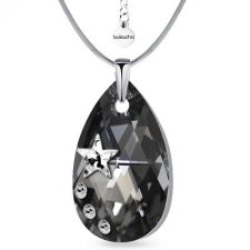 Колие STAR с кристали SWAROVSKI® PEAR DROP 22мм Silver Night** AB Crystal - Черен, Код PR N553