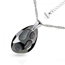 Колие с кристали Swarovski® RADIOLARIAN 18мм Silver Night** AB - Черен, Код PR N494