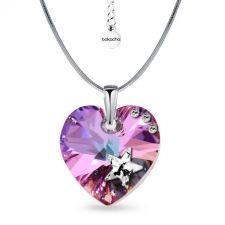 Колие STAR с кристали SWAROVSKI® HEART Vitrail Light** VL, Лилаво-зелен цвят, Код PR N576