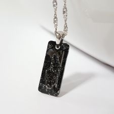 Колие с кристал SWAROVSKI® Growing Crystal Rectangle в Silver Night** AB - Черен цвят, Код PR N558