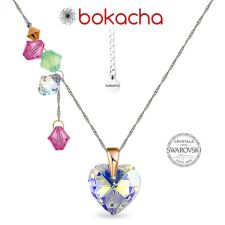Колие CANDY HEART с кристали SWAROVSKI®, Multi/ Crystal AB, Бял, Код PR N682