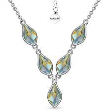 Колие с кристали SWAROVSKI® FLAME, Iridescent Green, 10мм - Зелен цвят, Код PR N619