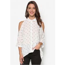 Дамска риза NEW LOOK в бяло на черни точки с голи рамене, Размер XL-XXL, Код BL0111