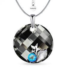 Колие STAR с кристали SWAROVSKI® TWIST 18мм Silver Night** AB - Черен, Код PR N555
