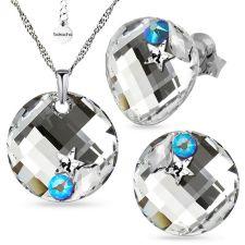 Бижута STAR украсени с кристали SWAROVSKI® TWIST 18мм CAL V SI - Бял цвят, Колие и Обеци, Код PR S649