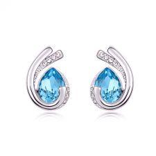 Обеци SUERTE BLUE със SWAROVSKI® Crystals и 18К Златно покритие, Zerga Brand, Код ZG E549