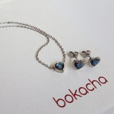 Обеци с кристали SWAROVSKI® MY HEART, Denim Blue Crystal, Син цвят, Код PR E557