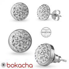 Обеци на винт с кристали Swarovski® PAVE PURE 6мм Crystal - Бял цвят, Неръждаема Стомана, Код PR E674