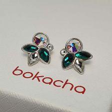 Елегантни Обеци DIVNA украсени с кристали SWAROVSKI®, Multi / Emerald, Зелен цвят, Код PR E665