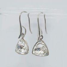Обеци с кристали Swarovski® KALEIDOSCOPE TRIANGLE, 9мм Crystal, Бял цвят, Код PR E685
