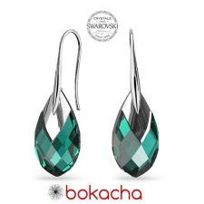 Обеци с кристали Swarovski® MET CAP PEAR, 18мм Emerald, Зелен цвят, Код PR E668