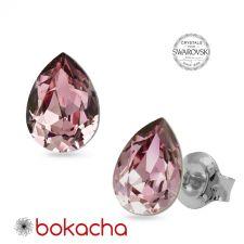 Обеци на винт с кристали Swarovski® PEAR 8мм Antique Pink - Лилав, Неръждаема Стомана, Код PR E672