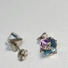 Бижута с кристали Swarovski® CUBE Vitrail Light** VL, Лилаво-зелен цвят, Колие 8мм и Обеци 6мм,  Код PR S419