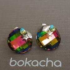 Обеци STAR декорирани с кристали SWAROVSKI® TWIST 18мм, Vitrail Medium** VM, Зелен цвят, Код PR E650