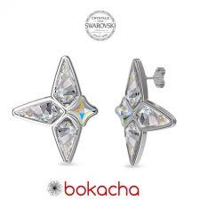Обеци ROCK украсени със SWAROVSKI® KITE Crystal, Бял цвят, Код PR E658