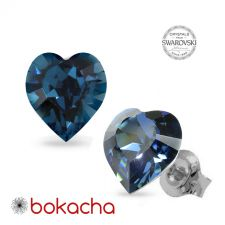 Обеци на винт с кристали Swarovski® Xilion HEART 8.8мм Montana - Син, Неръждаема Стомана, Код PR E675