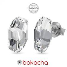 Обеци с кристали Swarovski® METEOR на винт, Crystal - Бял цвят, Код PR E653