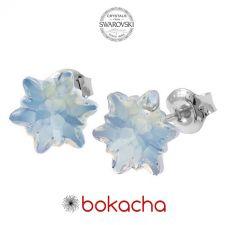 Обеци  с кристали Swarovski® EDELWEISS 10мм White Opal - Опал, Код PR E627