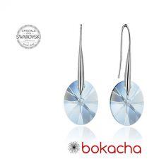 Обеци с кристали Swarovski® OVAL 12мм Blue Shade**, Син, Код PR E150