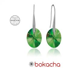 Обеци с кристали Swarovski® OVAL 12мм Emerald**, Зелен, Код PR E154