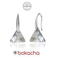 Обеци с кристали Swarovski® TRIANGLE, Crystal**, Бял, 12мм, Код PR E353-A