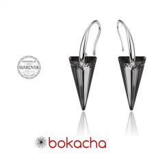 Обеци с кристали Swarovski® SPIKE 18мм  Silver Night** AB - Черен, Код PR E452B