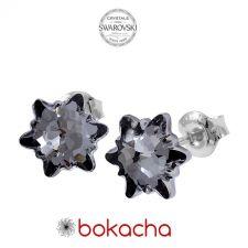 Обеци на винт с кристали Swarovski® EDELWEISS 10мм Silver Night** AB - Черен, Неръждаема Стомана, Код PR E443