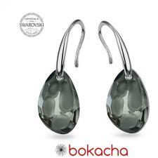 Обеци с кристали Swarovski® RADIOLARIAN 18мм Silver Night** AB - Черен, Код PR E494