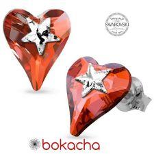Обеци STAR, украсени със SWAROVSKI® кристали WILD HEART Red Magma**,Червен цвят, Код PR E577