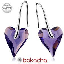 Обеци с кристали Swarovski® WILD HEART Tanzanite**, Лилав цвят, 12мм, Код PR E412