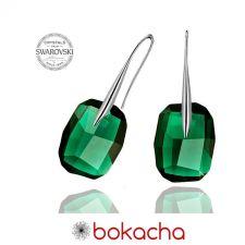 Обеци с кристали Swarovski® GRAPHIC 19мм Emerald, Зелен, Код PR E064A