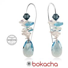 Обеци с кристали Swarovski® PEAR DROP STRING Aquamarine AB - Светло син, Код PR E402