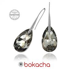 Обеци с кристали Swarovski® PEAR DROP 16мм  Silver Night** AB - Черен, Код PR E108A