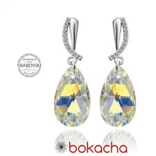 Обеци CRYSTAL SWAROVSKI® PEAR DROP 16мм Crystal AB, Бял, Код PR E332