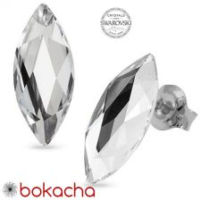 Обеци украсени със SWAROVSKI® MARQUISE Crystal 14 мм - Бял цвят, Код PR E593