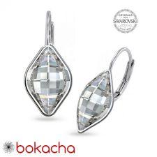 Обеци с английско закопчаване с кристали SWAROVSKI® LEMON 14мм, Crystal, Бял, Код PR E568B
