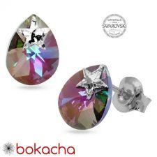 Обеци STAR украсени със SWAROVSKI® MINI PEAR, 12мм, Vitrail Light** VL crystal, Лилаво-зелен, Код PR E551