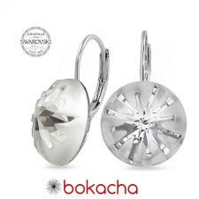 Обеци с кристали Swarovski® SEA URCHIN с английско закопчаване, ръчна изработка в Crystal - Бял цвят, Код PR E537B