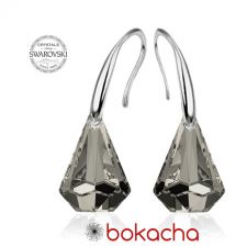 Обеци с кристали Swarovski® RAINDROP 14мм  Satin**, Прозрачно черен, Код PR E453B