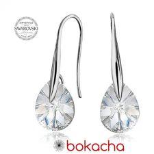 Обеци с кристали Swarovski® MINI PEAR 8мм Crystal, Бял, Код PR E414