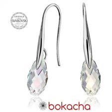 Обеци с кристали Swarovski® BRIOLETTE 11мм Crystal, Бял цвят, Код PR E413