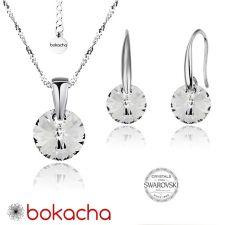 Бижута с кристали Swarovski® RIVOLI Crystal, Бял, Колие и обеци 8мм,  Код PR S370