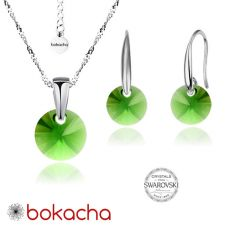 Бижута с кристали Swarovski® RIVOLI Emerald**, Зелен, Колие и обеци 8мм, Код PRFNO S377