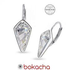 Обеци украсени със SWAROVSKI® KITE Crystal с английско закопчаване 14 мм - Бял цвят, Код PR E606B
