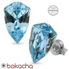 Обеци с кристали Swarovski® SLIM TRILLIANT на винт, ръчна изработка в Aquamarine - Син цвят, Код PR E630