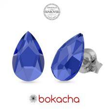 Обеци украсени със SWAROVSKI® PEAR 8мм, Sapphire - Син цвят, Код PRFNO E598