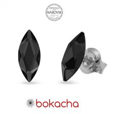 Обеци украсени със SWAROVSKI® MARQUISE Graphite 8x3,5 мм - Черен цвят, Код PR E595