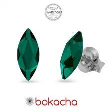 Обеци украсени със SWAROVSKI® MARQUISE Emerald 8x3,5 мм - Зелен цвят, Код PR E594
