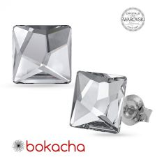 Обеци с кристали SWAROVSKI® ASYMMETRIC SQUARE 10мм Crystal CAL V SI- Бял, Код PR E644