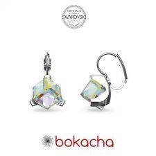 Обеци украсени със SWAROVSKI® CUBE 8мм Crystal AB, Бял, Код PR E635